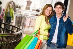 Happy shopaholics Royalty Free Stock Photos