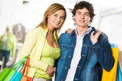 Happy shopaholics Royalty Free Stock Image