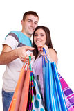 Happy shoper couple Stock Image