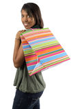 Happy shopper with colorful bag Stock Photography