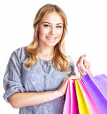 Happy shopper girl Royalty Free Stock Image