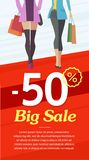 Happy shopper. The girl holds packages. Big Sale. Vector illustration of a flat design Royalty Free Stock Photography