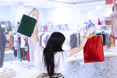 Happy shopper in the mall Royalty Free Stock Photo