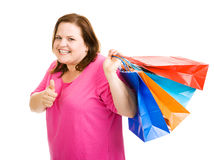 Happy Shopper Thumbsup Stock Photo
