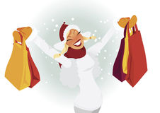 Happy shopper in winter vector. Happy woman shopping in winter time Stock Photo