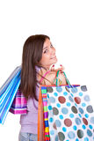 Happy shopper woman Stock Images