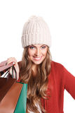 Happy shopper woman with paper bags Stock Photography