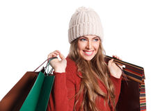 Happy shopper woman with paper bags Royalty Free Stock Images