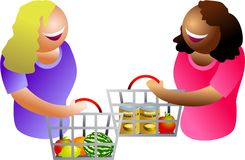 Happy shoppers. Lady shoppers having a chat vector illustration