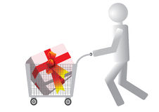 Happy shopping. Happy holiday shopping, the supermarket cart buyer Royalty Free Stock Images