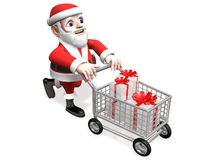Happy shopping of 3d santa Stock Photography