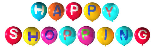 Happy shopping. In abstract balloons Stock Illustration