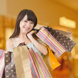Happy shopping asian woman Stock Image