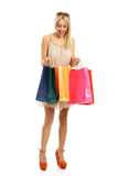 Happy shopping blonde Royalty Free Stock Image