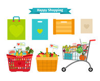 Happy shopping concept. Only fresh and natural. Food. Nature nutrition, sale natural, vector illustration Royalty Free Stock Images