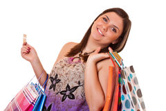 Happy shopping with credit card Royalty Free Stock Photo