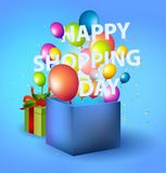 Happy shopping Day in blue box with balloons.  Royalty Free Stock Images