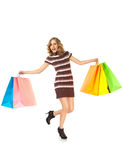 Happy shopping female Royalty Free Stock Image