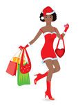 Happy shopping girl. On white background. Vector illustration Stock Photography