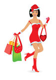 Happy shopping girl. Happy shopping Caucasian girl on white background. Vector illustration Stock Photos