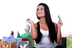 Happy Shopping Girl Royalty Free Stock Images