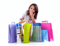 Happy Shopping Girl Stock Images