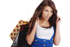 Happy shopping  girl with bags Royalty Free Stock Images