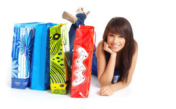 Happy shopping  girl with bags Stock Image
