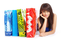 Happy shopping  girl with bags Stock Photos