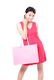 Happy Shopping Girl Holding bag Royalty Free Stock Images