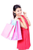 Happy Shopping Girl Holding bag Stock Photo
