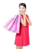 Happy Shopping Girl Holding bag Stock Photography