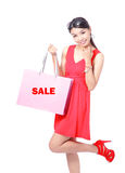 Happy Shopping Girl Holding bag Royalty Free Stock Image