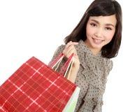 Happy Shopping Girl Holding bag Stock Image