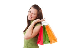 Happy shopping girl holding bags Stock Photography