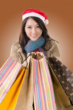 Happy shopping girl holding bags Royalty Free Stock Images