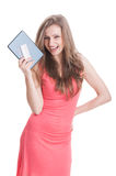 Happy shopping girl holding tablet and card Stock Image