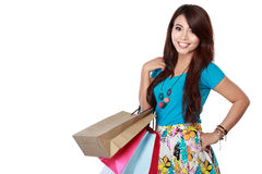 Happy shopping girl with many bag Stock Images