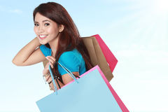 Happy shopping girl with many shopping bag Royalty Free Stock Photos