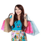 Happy shopping girl with many shopping bag Stock Images