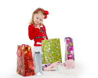Happy shopping girl. Royalty Free Stock Images