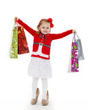 Happy shopping girl. Royalty Free Stock Photography