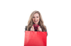 Happy shopping girl on white copy space Royalty Free Stock Photography