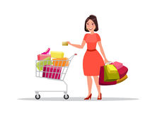Happy shopping girl or woman with bags. Big Sale. Happy shopping girl or brunette woman with golden credit card and bags or packages with purchases and shopping Royalty Free Stock Images