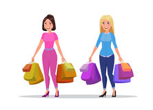 Happy shopping girl or woman with bags. Big Sale. Happy shopping girls or brunette and blonde women with bags or packages with purchases. Big Sale. Vector Royalty Free Stock Photo