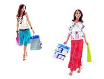 Happy shopping girls Royalty Free Stock Images