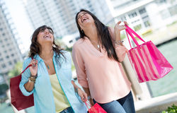 Happy shopping girls Royalty Free Stock Image