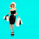 Happy shopping. Glamorous summer lady.  Royalty Free Stock Photos