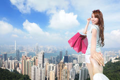 Happy Shopping in hong kong Royalty Free Stock Images