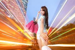 Happy Shopping in hong kong Stock Photography